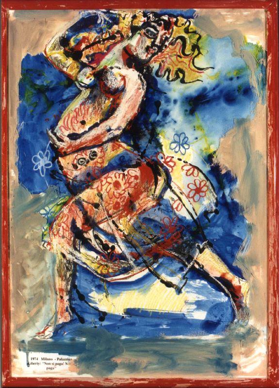 donna incinta, disegno di Dario Fo