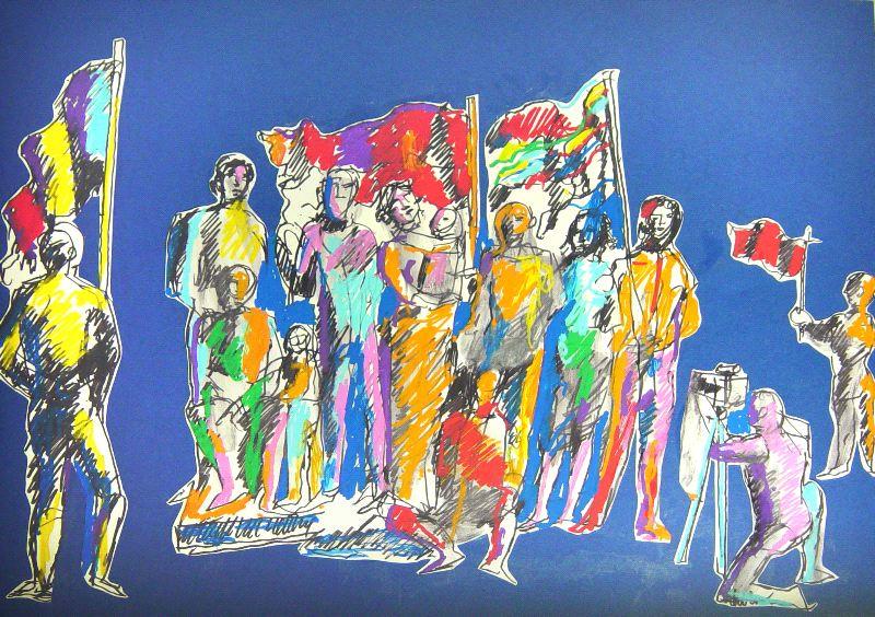 Popolo con bandiere, disegno di Dario Fo