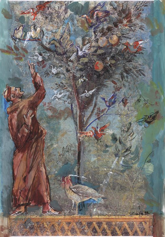 Francis with birds, draw by Dario Fo