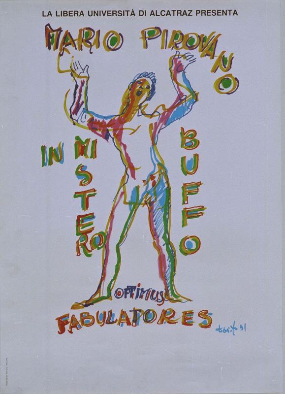 Manifesto 'Mistero Buffo' disegnato da Dario Fo per Mario Pirovano, 1991