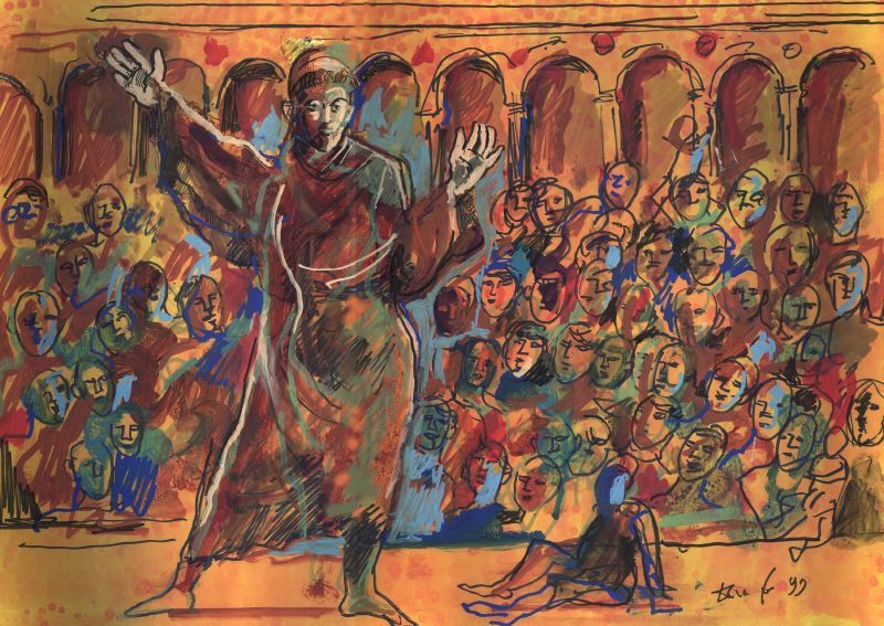St. Francis preaching to the crowd, drawing by Dario Fo