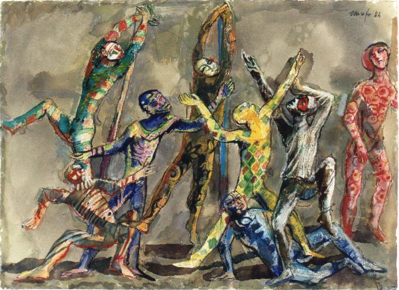 Disegno di Dario Fo: Gli Zanni. 1984