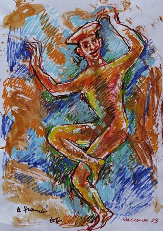 Disegno di Dario Fo: figura danzante