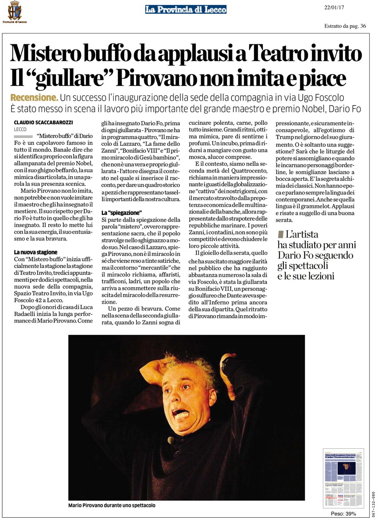 Recensione Mario Pirovano Mistero Buffo Lecco