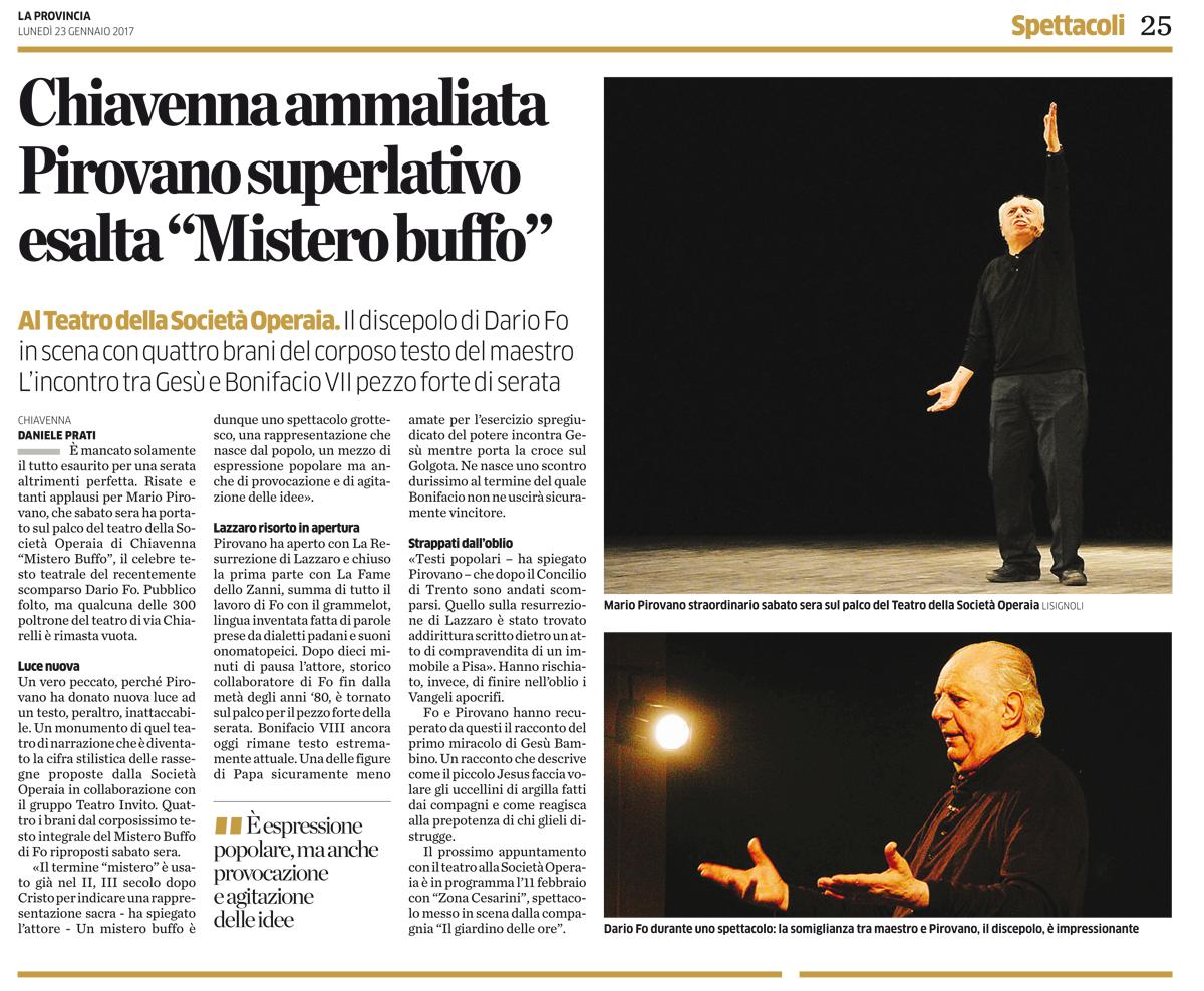 Recensione Mario Pirovano Mistero Buffo Chiavenna