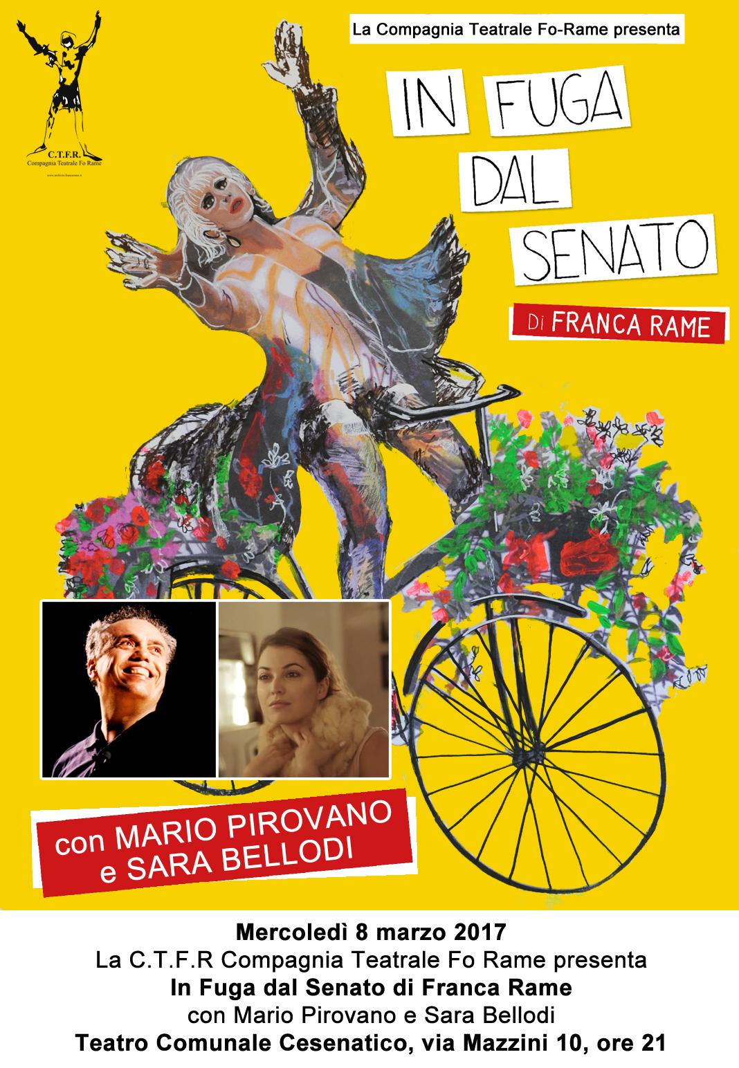 n Fuga dal Senato di Franca Rame Spettacolo con Mario Pirovano e Sara Bellodi