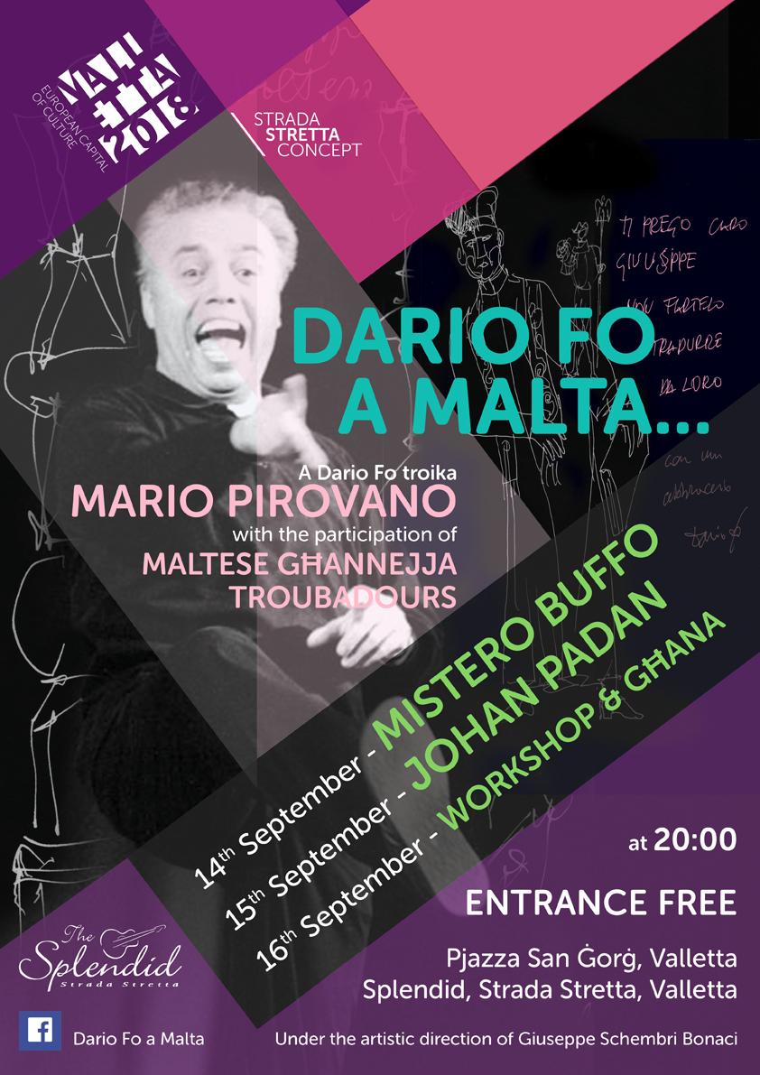 Mario Pirovano a Malta Mistero Buffo Johan Padan Dario Fo