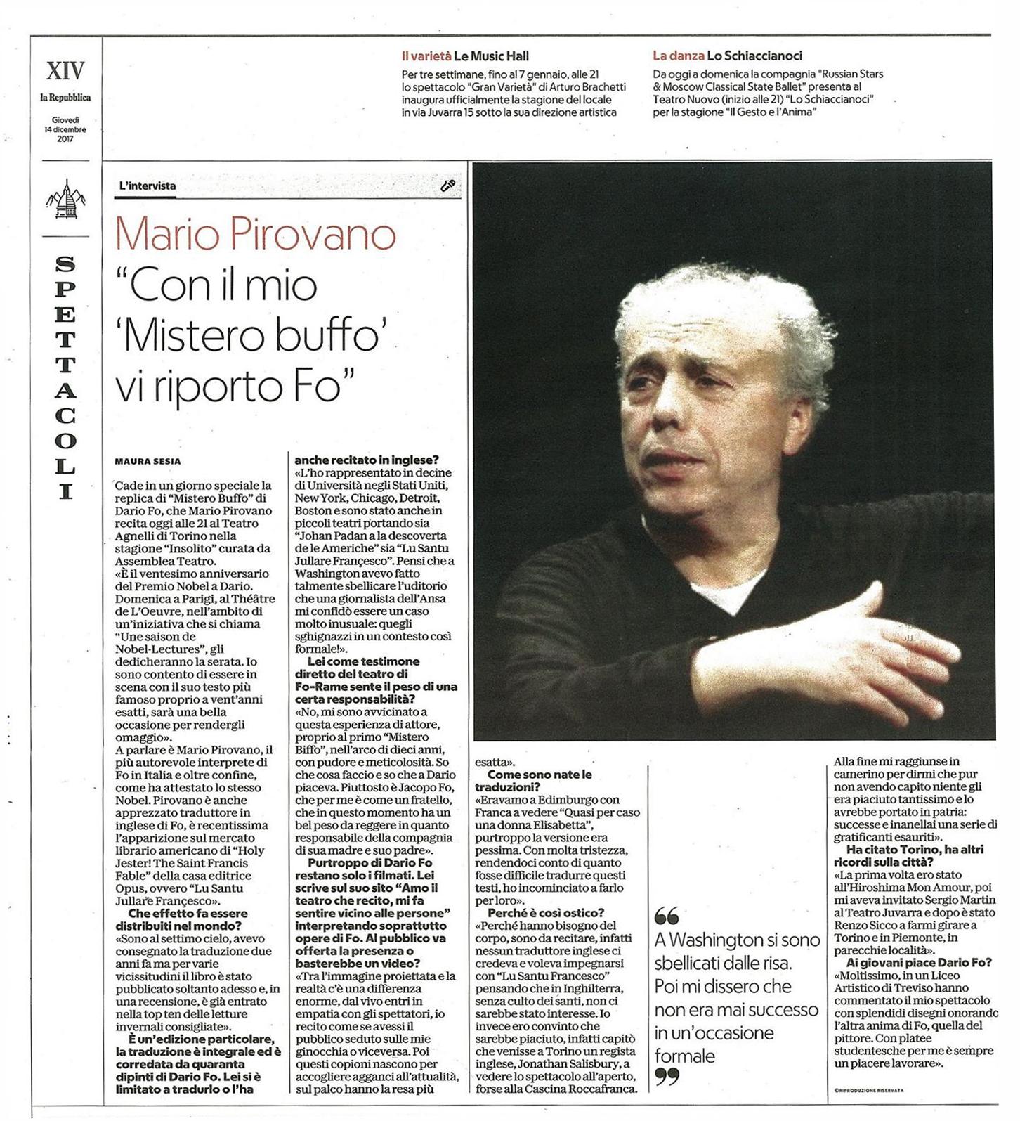 Recensione Mario Pirovano Mistero Buffo Repubblica dicembre 2017