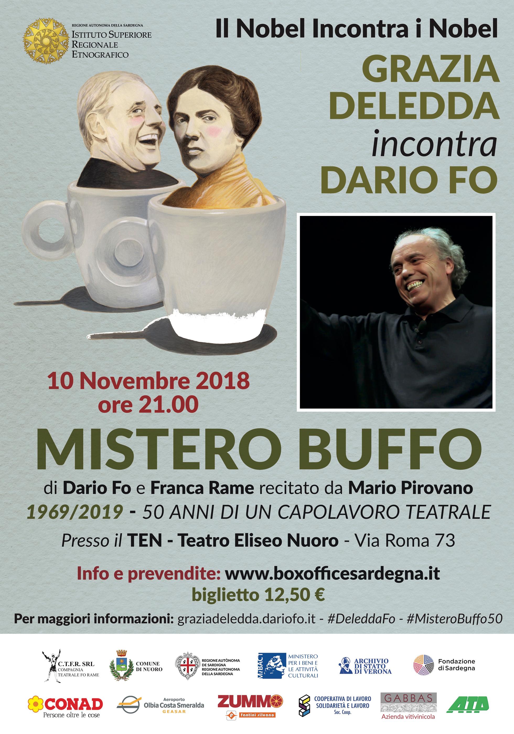 10 Novembre 2018: MARIO PIROVANO recita Mistero Buffo a Nuoro